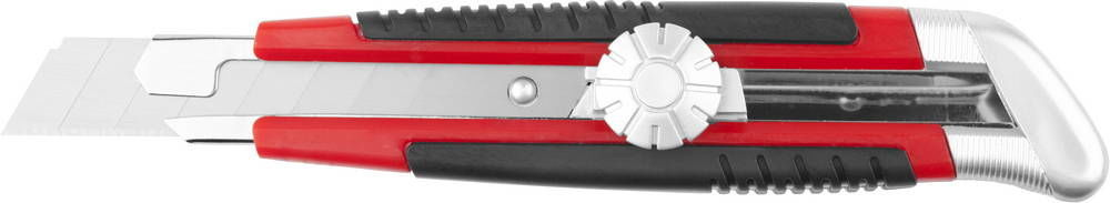 Нож URAGAN с выдвижным сегментированным лезвием, двухкомп корпус, механический фиксатор, инструментальная сталь, 18мм Image
