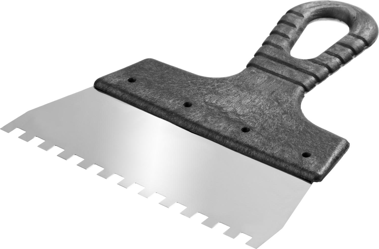 Шпатель нержавеющий СИБИН зубчатый, с пластмассовой ручкой, зуб 6х6мм, 250мм Image