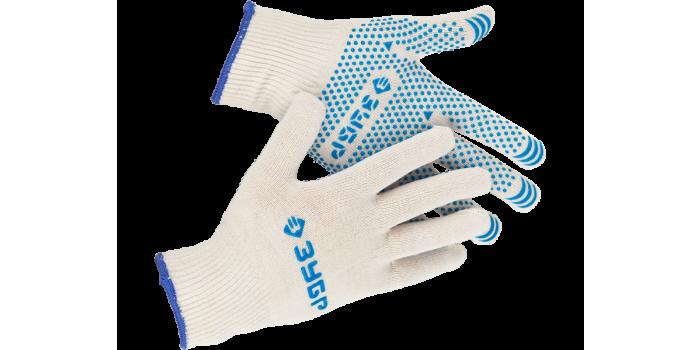 Перчатки ЗУБР трикотажные, 12 класс, х/б, с защитой от скольжения, L-XL Image