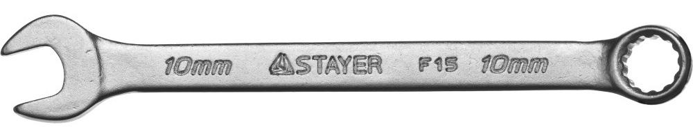 """Ключ STAYER """"MASTER"""" гаечный комбинированный, хромированный, 10мм Image"""