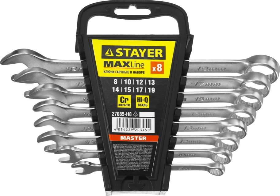 """Набор: Ключ STAYER """"MASTER"""" гаечный комбинированный, хромированный, 8-19  мм, 8 шт Image"""