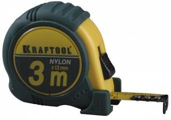 """Рулетка KRAFTOOL """"EXPERT"""" с нейлоновым покрытием, обрезин корпус, 3/13мм Image"""