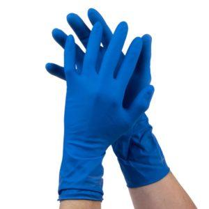 Перчатки синие резиновые хим. Image